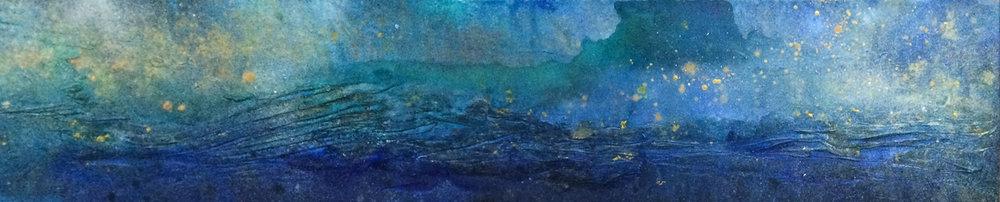 "Oceanic tendencies | Acrylic and mixed media on canvas | 12x60"" | 2015"
