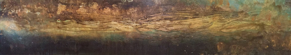 With Purpose & Intention | Acrylic and mixed media on canvas | 12x60""