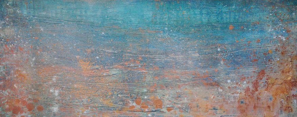 "Synchronicity     Acrylic and mixed media on canvas   16x40""   2016"