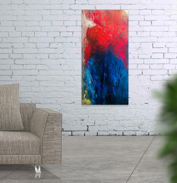 """Tango     Acrylic and mixed media on canvas   18x36""""   2015"""