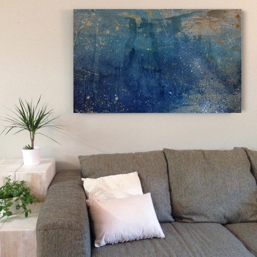 "Float |  Acrylic and mixed media on canvas | 36x48"""