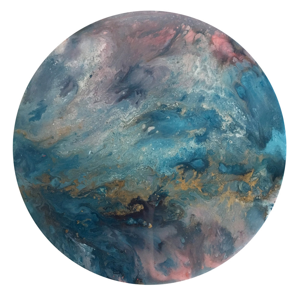 "Chroma | Acrylic, metallic pigments and resin on wood, 18"", 2017"