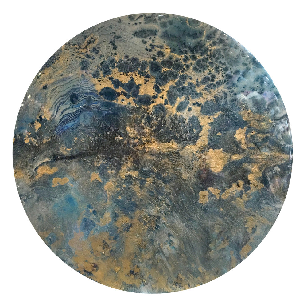 """Evening Star   Acrylic, metallic pigments and resin on wood, 13"""", 2017"""