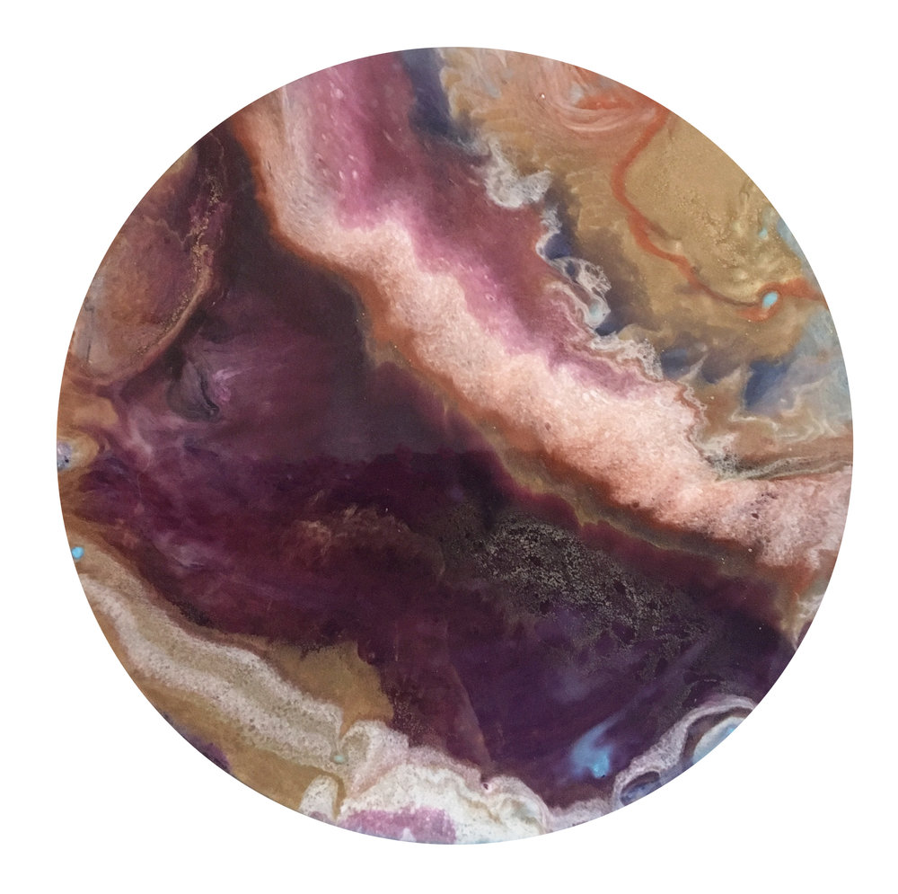 "Muted Merlot | Ink + metallics + resin on wood | 24"""