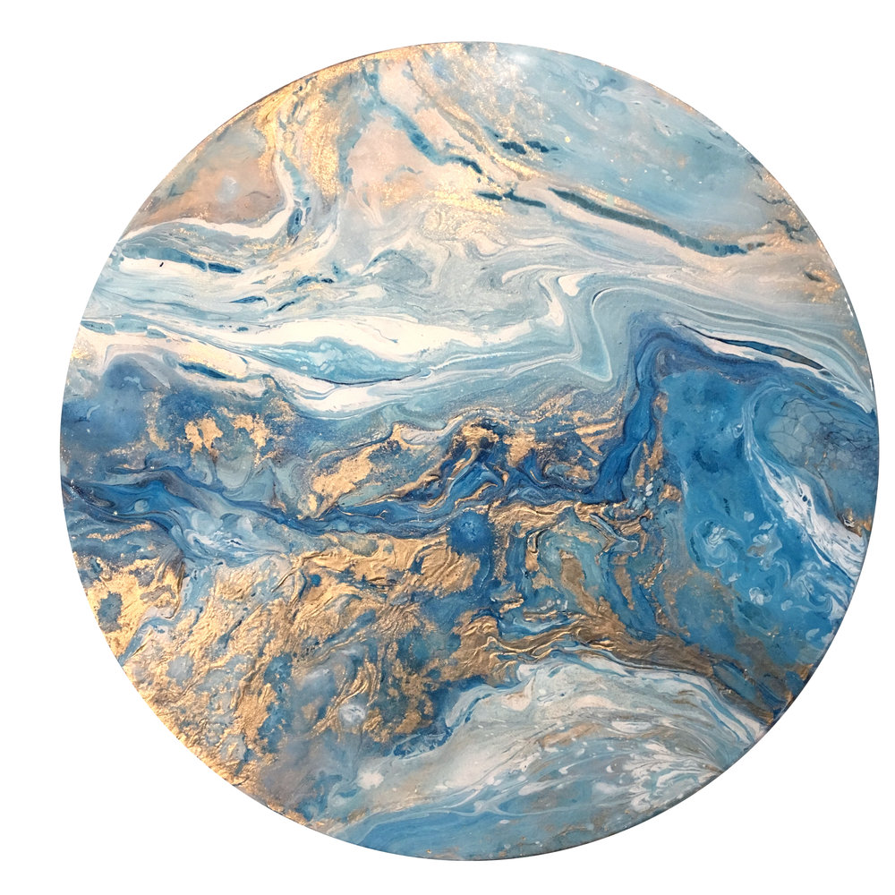 """Summer Swim   Acrylic + metallics + resin on wood   15"""""""