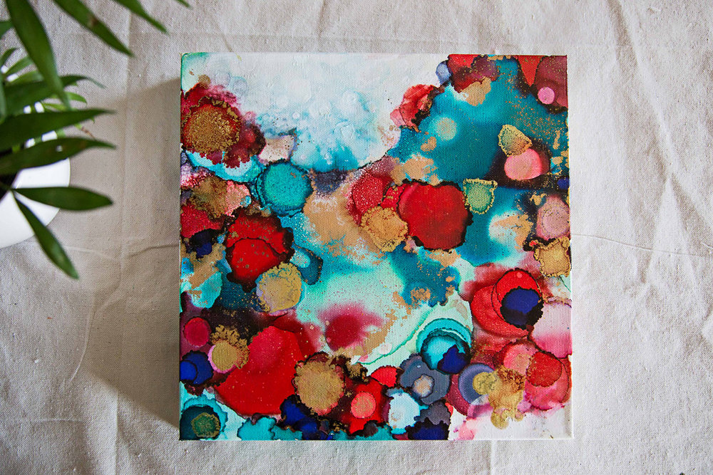 "Spanish Summer   Inks + metallics on canvas   12x12x1.5"""