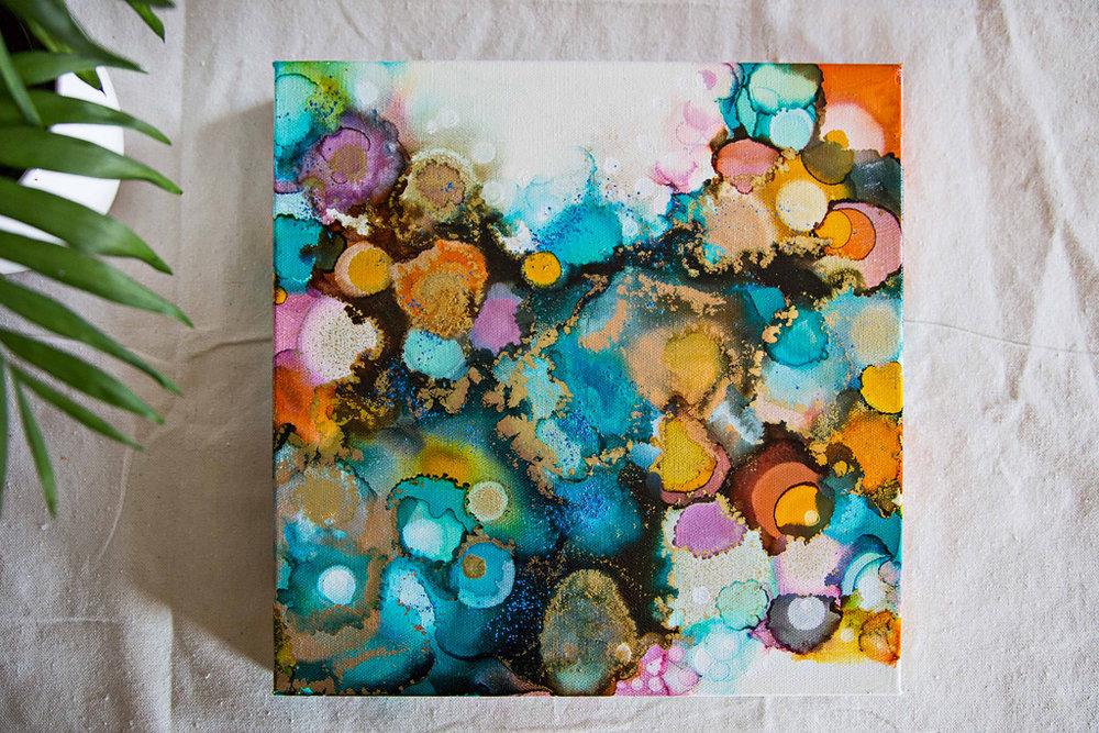 "Alicante   Inks + metallics on canvas   12x12x1.5"""