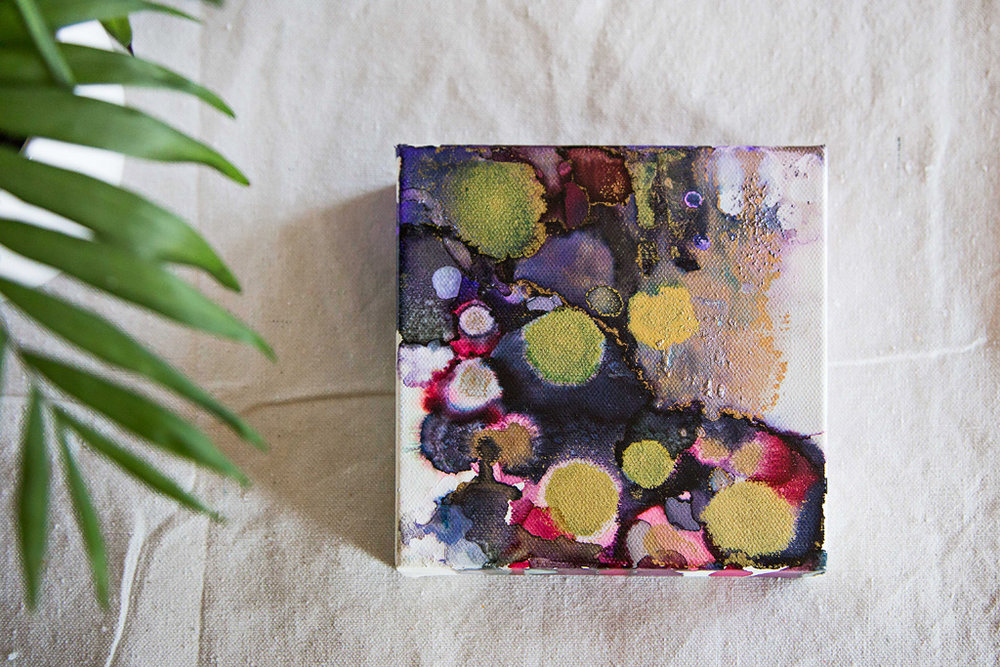 "Amethyst   Inks + metallics on canvas   6x6x1.5"""