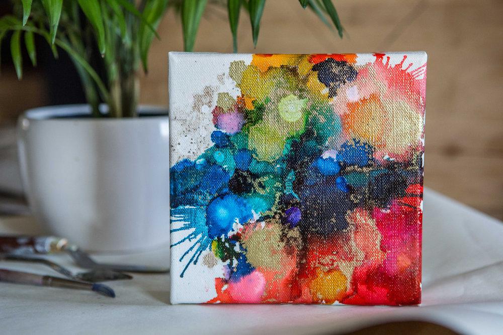 "Inks + metallics on canvas   6x6x1.5"""