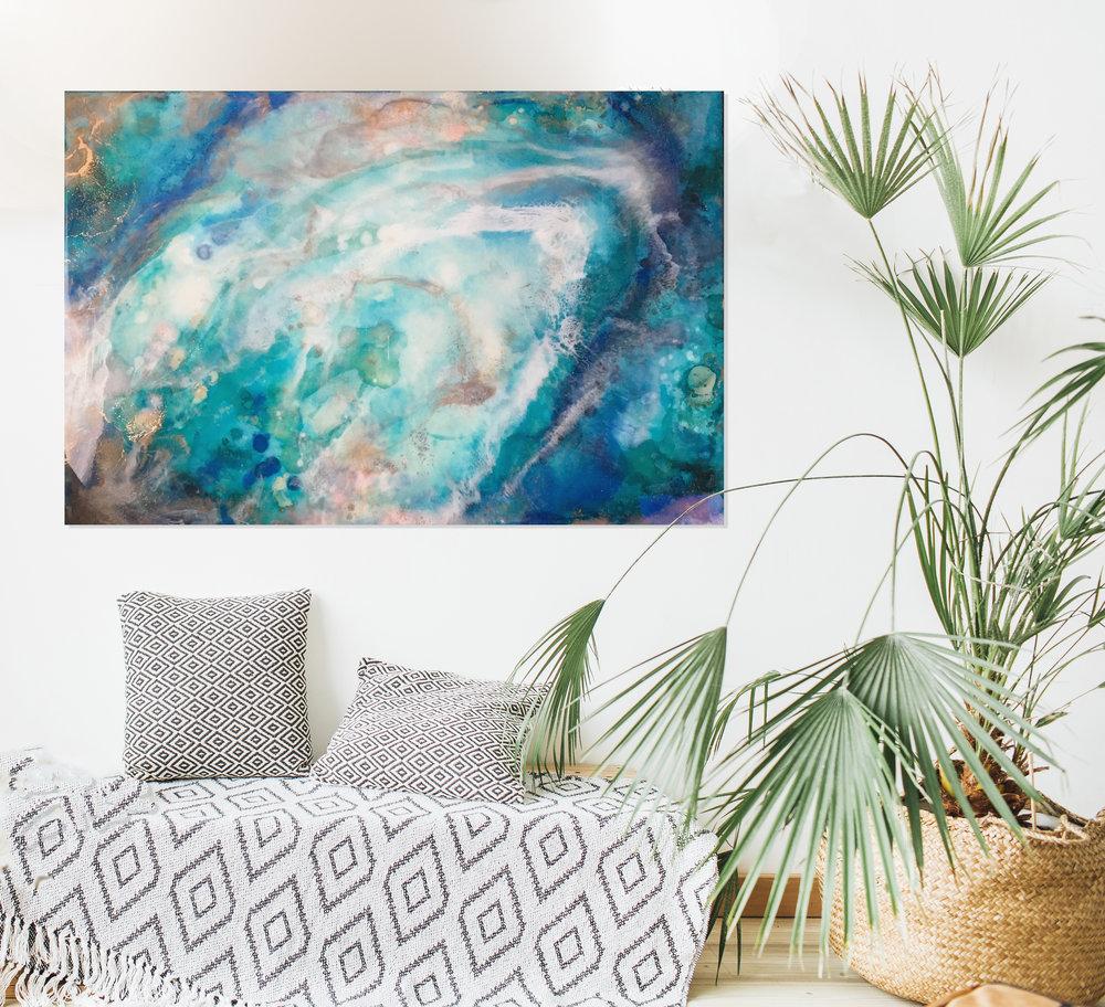 "Kua Bay   Inks, metallics and resin on birch   24x36"""