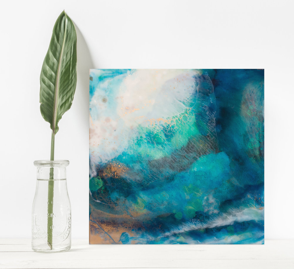 "Magic Sands   Inks + metallics + resin on birch   12x12x1.5"""
