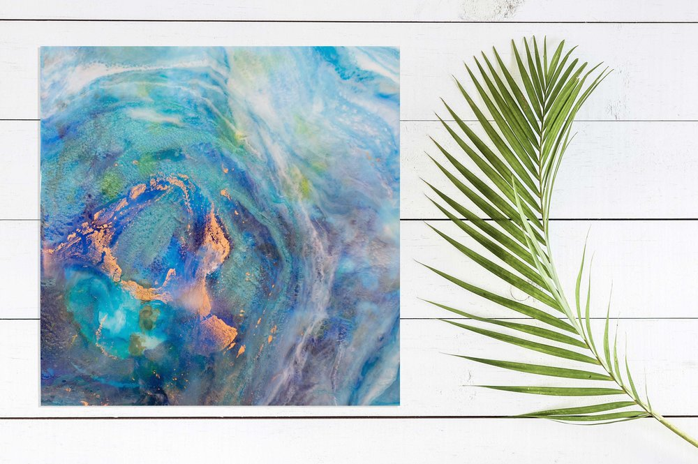 "Waipio Valley | Inks + metallics + resin on birch | 12x12x1.5"""