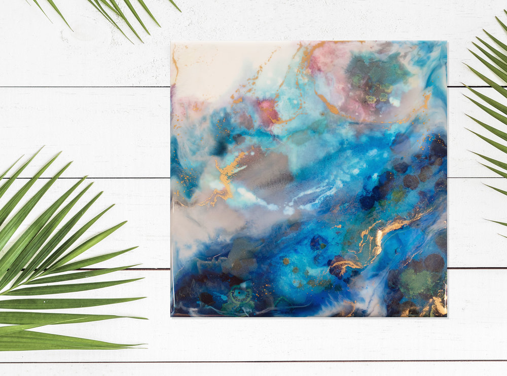 "Mahina   Inks + metallics + resin on birch   12x12x1.5"""