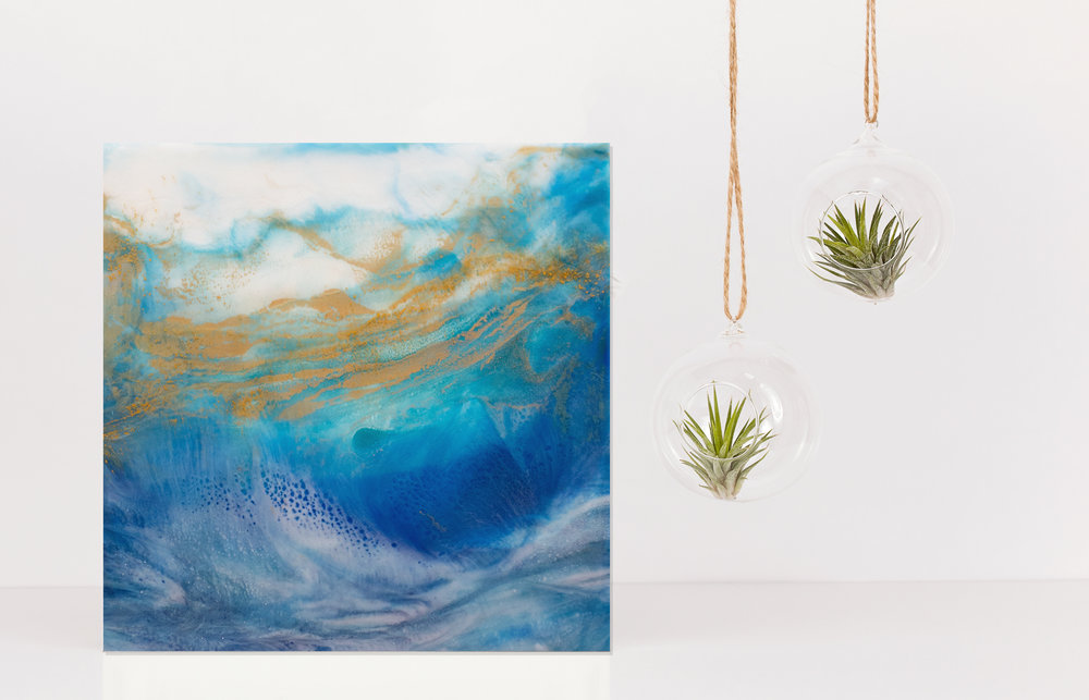 "Seaside | Inks + metallics + resin on birch | 12x12x1.5"""
