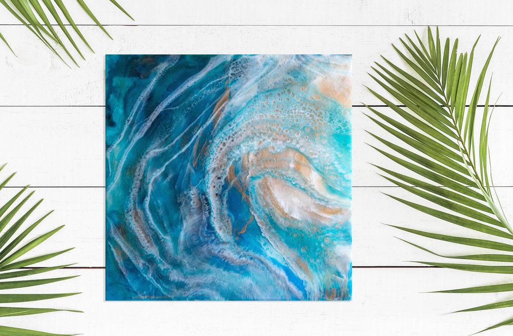 "Shaka | Inks + metallics + resin on birch | 12x12x1.5"""