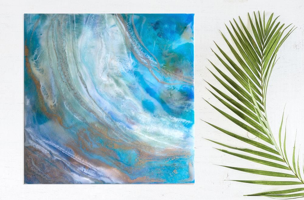 "La Sirena | Inks + metallics + resin on birch | 12x12x1.5"""