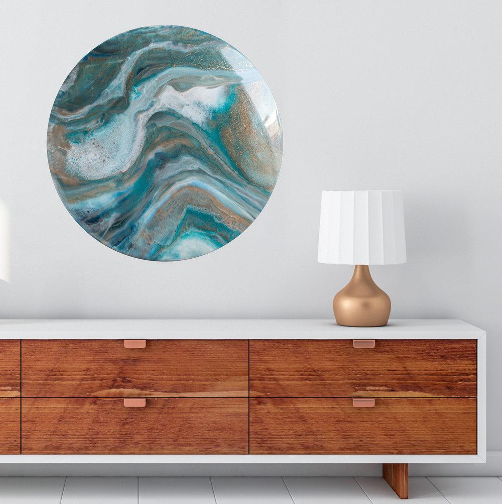"Wailele {waterfall}  | 18"" | Ink + resin on wood"
