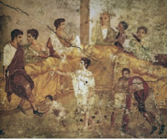 Fresco from Pompeii depicting two upper-class Romans wearing black shoes. From the Koren Talmud,  Bava Kamma  59b