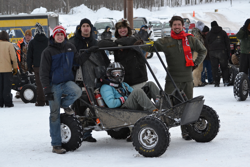 From left to right: John, Will, Stephen, and Mike, with Jane behind the wheel