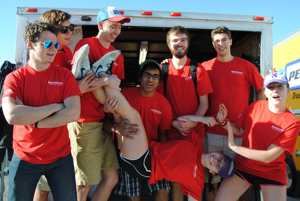 Track workers from left to right: Chris, Blake, Spencer, Steph, Gaurav, Connor, Joe H, and Brooke