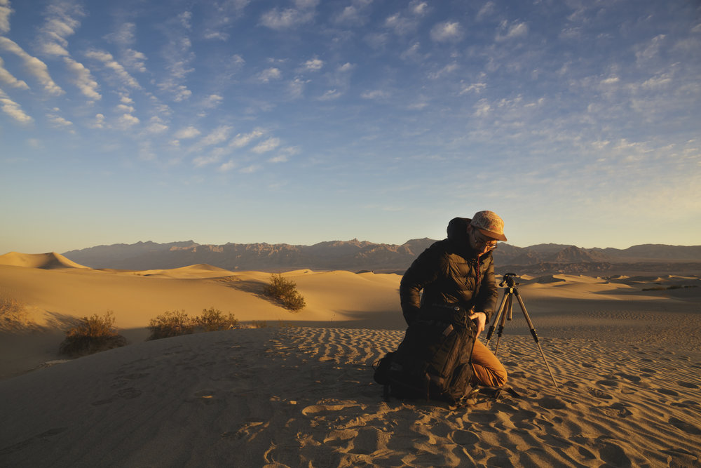 Prepping for the shoot at the Mesquite Sand Dunes. Death Valley National Park, Near Stovepipe Wells, CA.