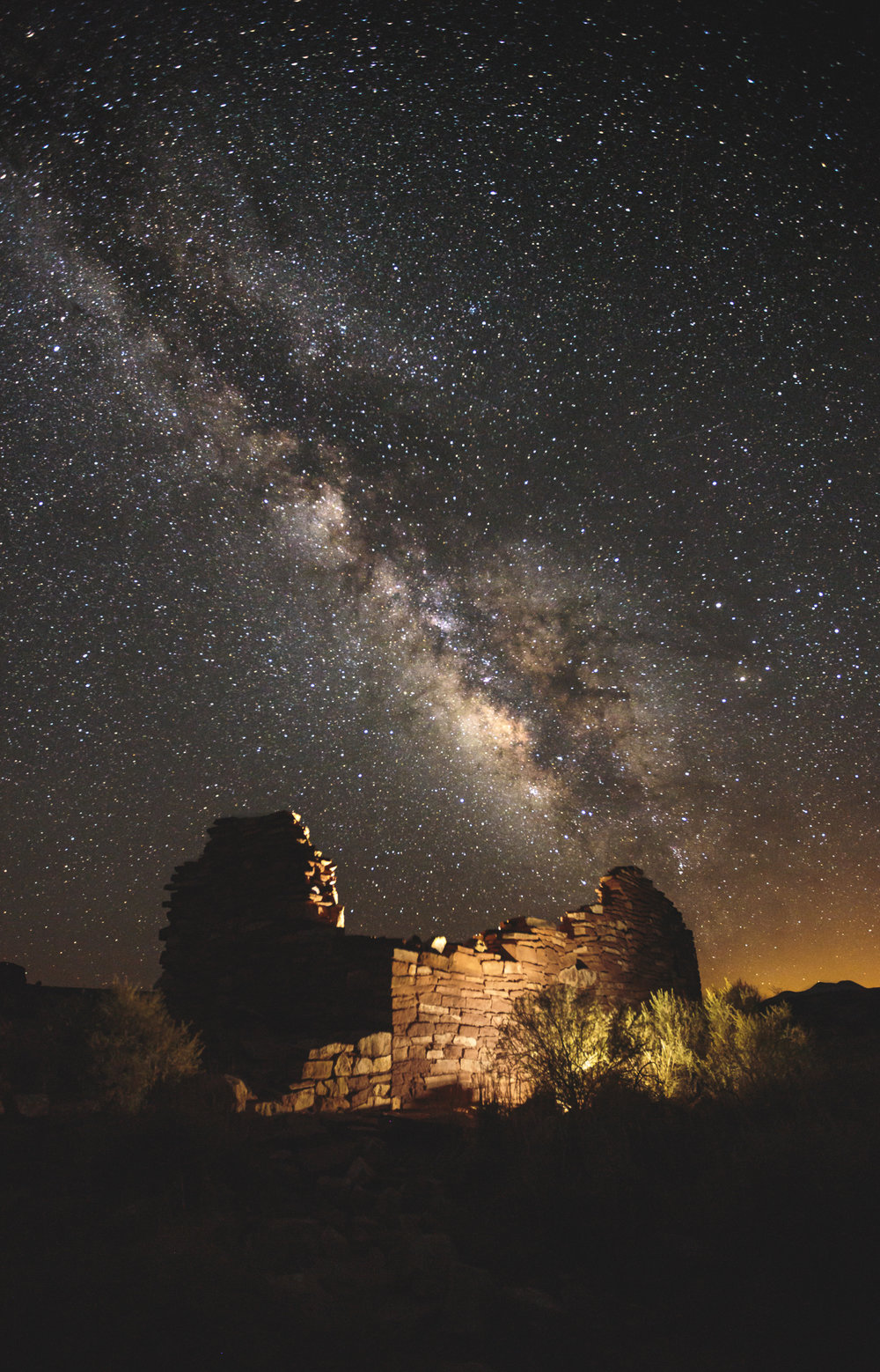 The Far Box Canyon Ruin at Lomaki Pueblo among the Milky Way Galatic Center as it sets. Lomaki Pueblo, Wupatki National Monument, Arizona.