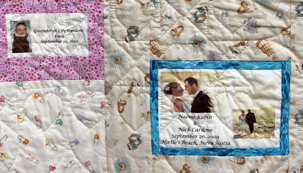 The label for naomi and nick's wedding quilt