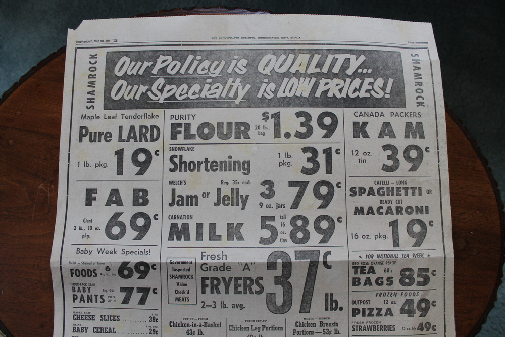 We found a layer of newspapers under the linoleum, check out the prices!