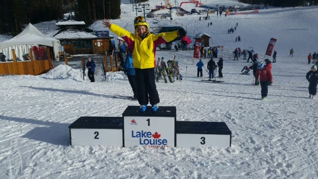Molly on the Nakiska Women's Downhill podium, practising for about 12 years down the road!