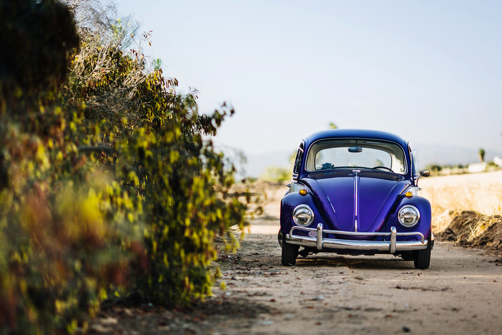 VW Bug on Dirt Road