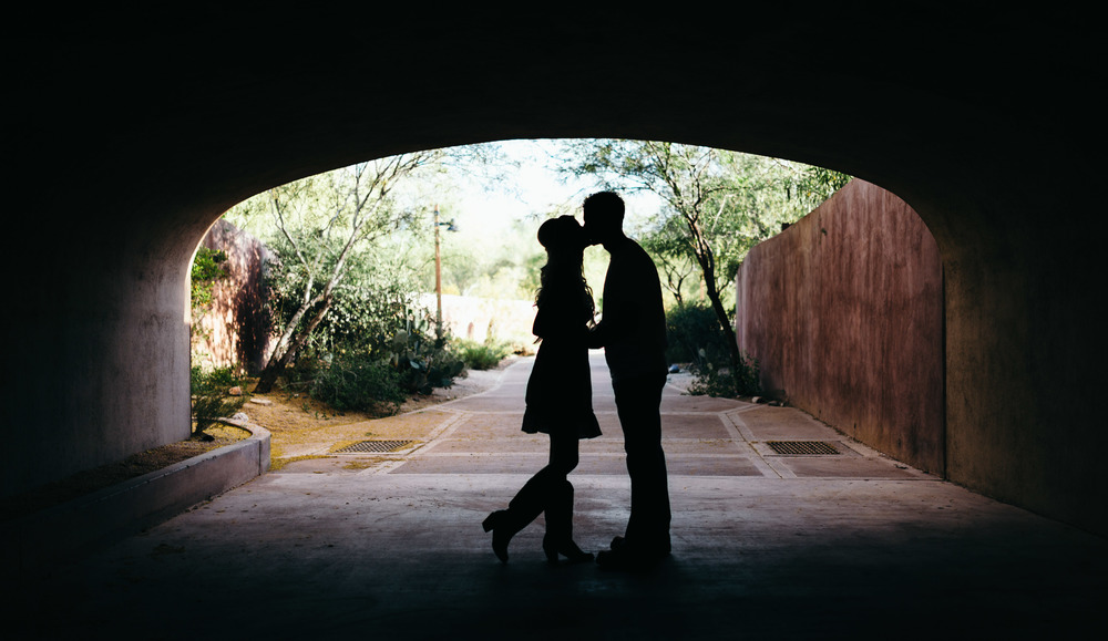 Engagement Couple Silhouette in Tunnel