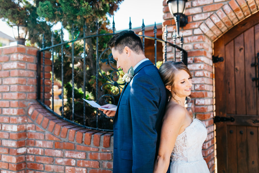 love letters at wedding