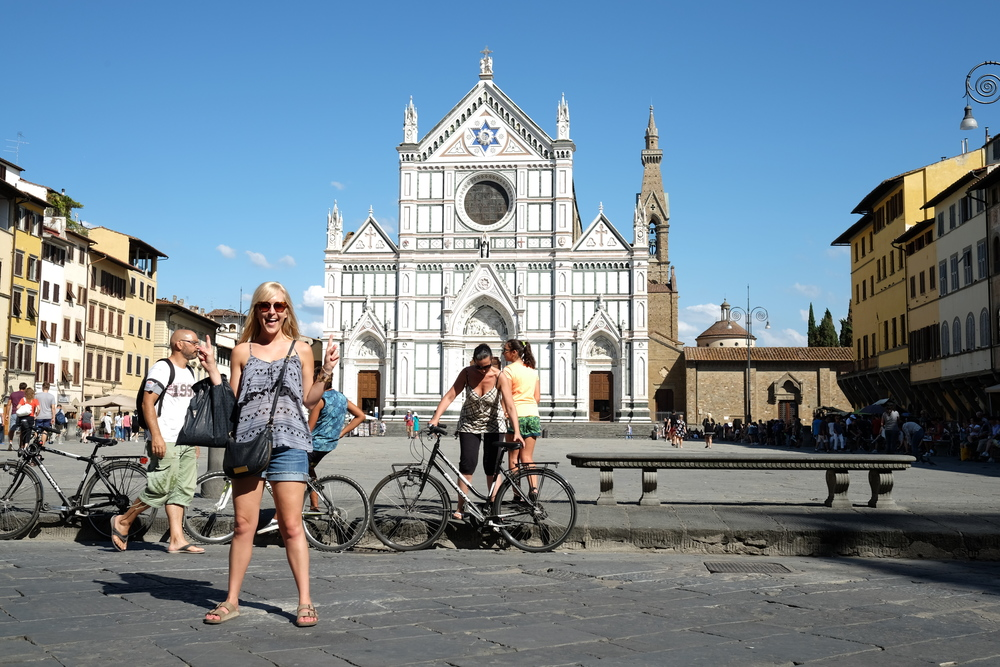Alli in front of the Basilica Santa Croce in Florence, Italy