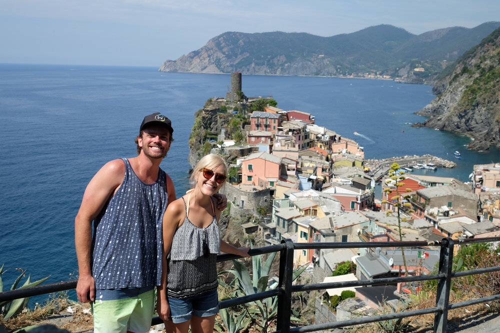 Hiking the Cinque Terre with beautiful Vernazza behind us!