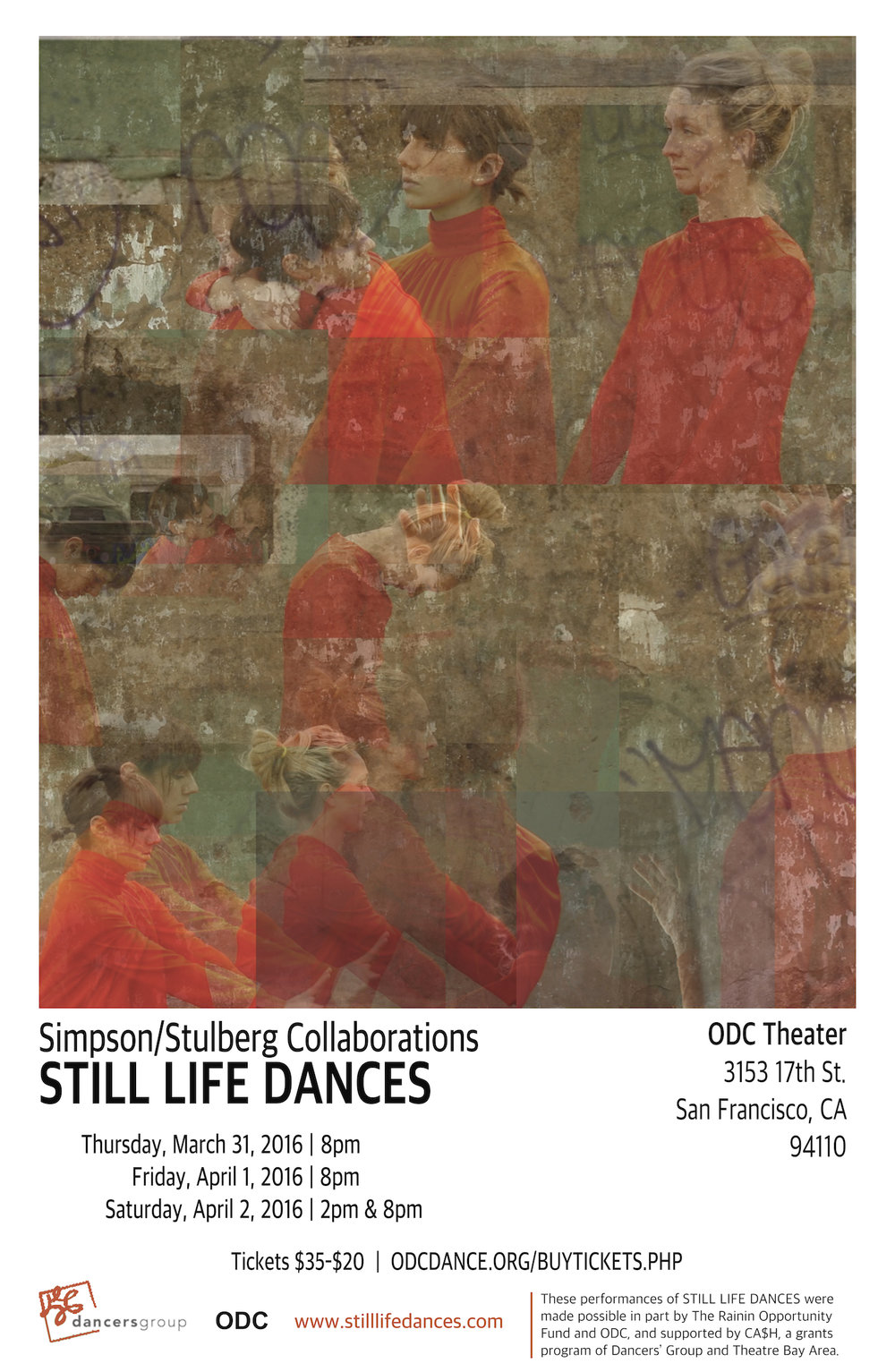 "Promotional poster for SSC's self produced show ""Still Life Dances"" at ODC Theater, spring 2016."