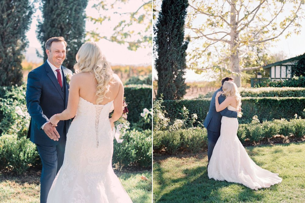 Orange county wedding, Ponte Winery Wedding, Temecula Wedding, first look, bride and groom