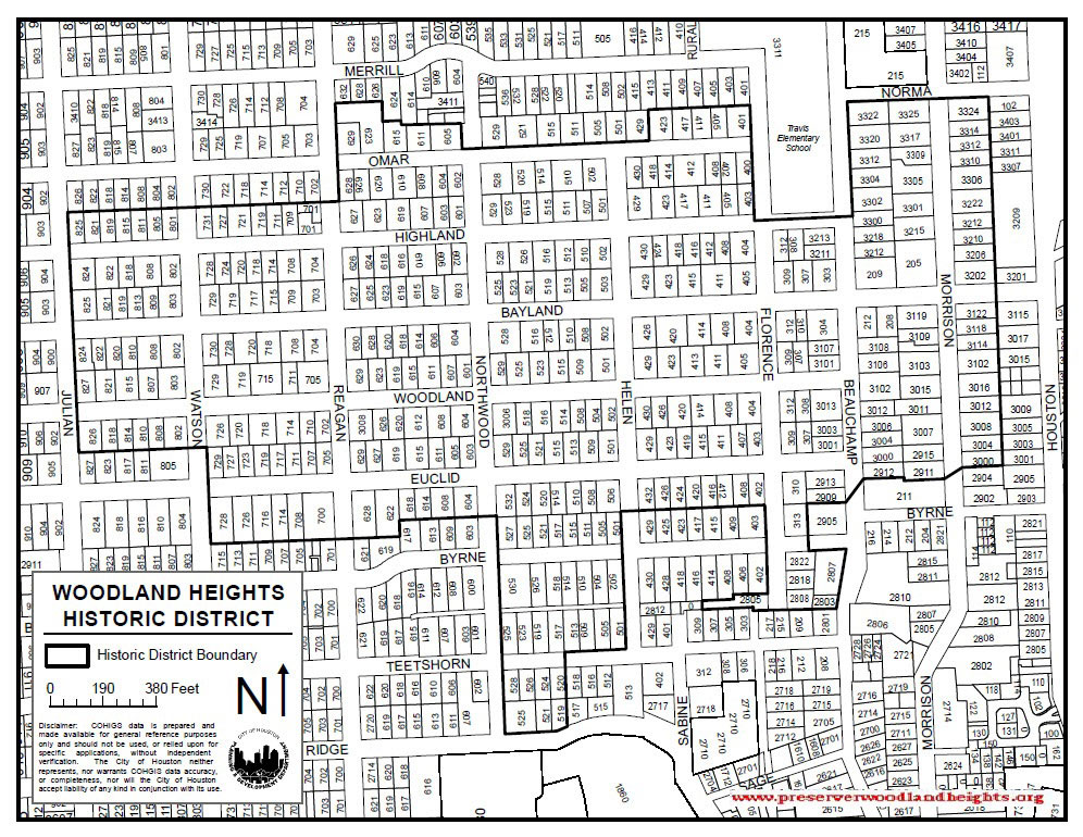 Woodland Heights Historic District boundary map. Approved by Houston City Council on June 29, 2011.  Click to enlarge.