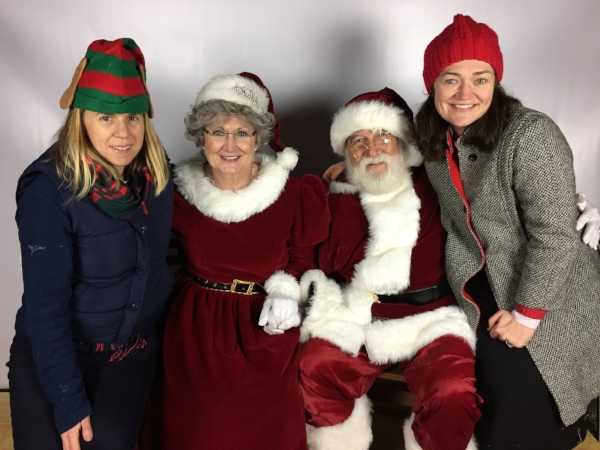 L-to-R: Katie McCafferty (FNL Chair), Mrs Claus, Mr Claus, Jan Green (LITH Chair, 2015-17)