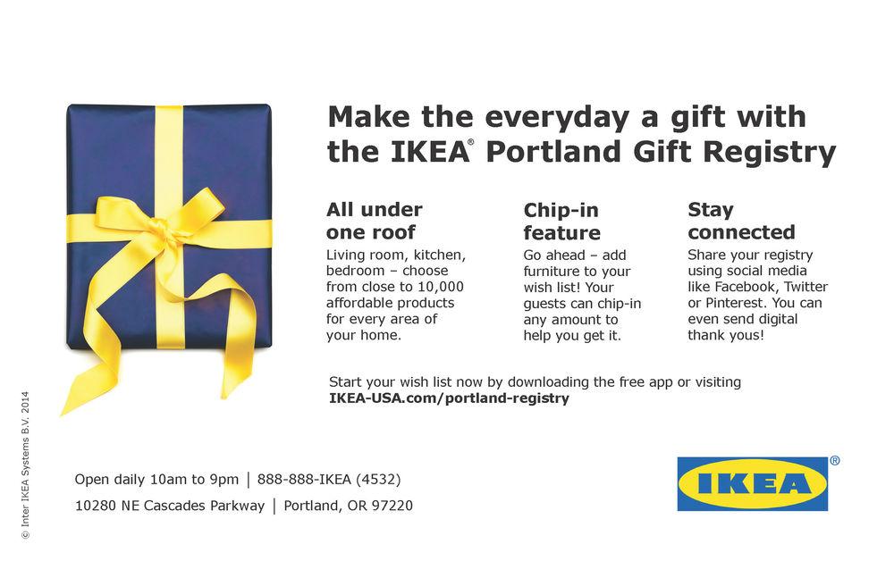 IKEA Portland Gift Registry Promo Flier