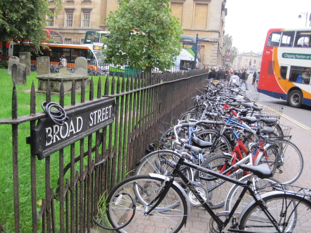 Bikes on Broad Street, Oxford, England