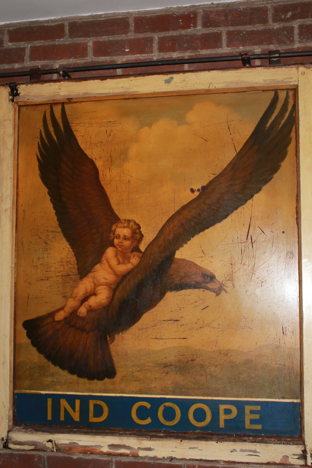 Former Eagle & Child Pub sign, now at The Kilns