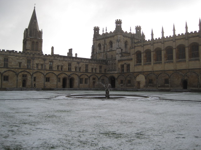 Christ Church in the snow, Oxford, England