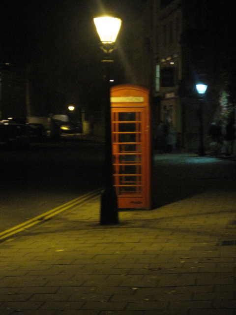 Lamplit phone booth, St. Giles Street, Oxford, England