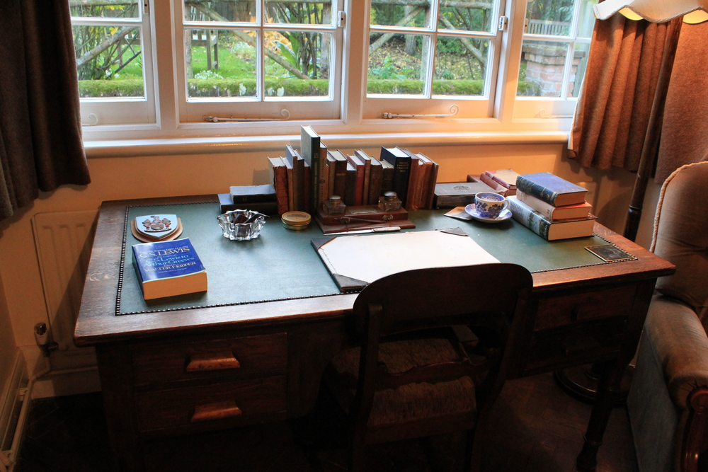 Desk in the front room at The Kilns, former home to C. S. Lewis (1930-63)