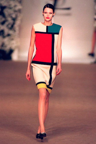 Yves Saint Laurent's famous Mondrian dress (original: 1965, though this photo is from a retrospective)