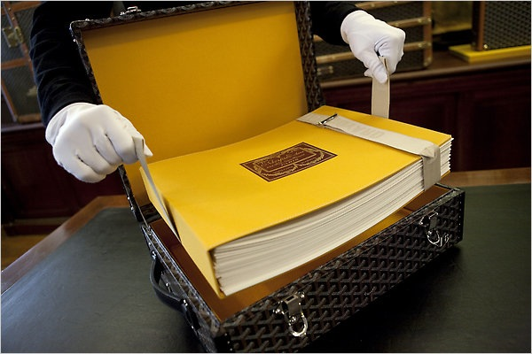 The Goyard art book carefully stored in a custom case