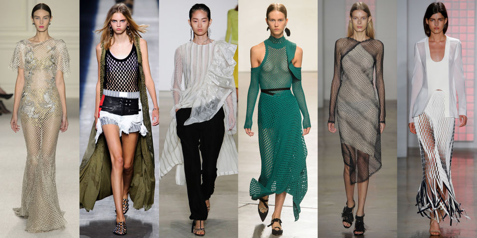 Present day netted clothing from Alexander Wang, Marchesa, Cushnie et Ochs, and more