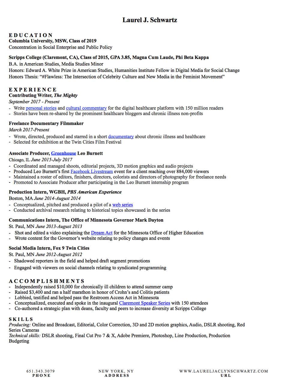 News and Resume — LAUREL SCHWARTZ