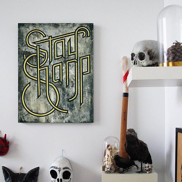 New painting (and limited edition print) available now at 00one.com!! . . . #stay #sharp #staysharp #painting #lowbrow #print #printing #giclee #acrylicpainting #gift #gifts #giftsforhim #giftsforher #giftideas #artforsale #printsforsale #wall #decoration #type #typography #typographydesign #typographic #typographyinspired #typebeat #typetopia #design #designspiration #designboom #designlife #typematters