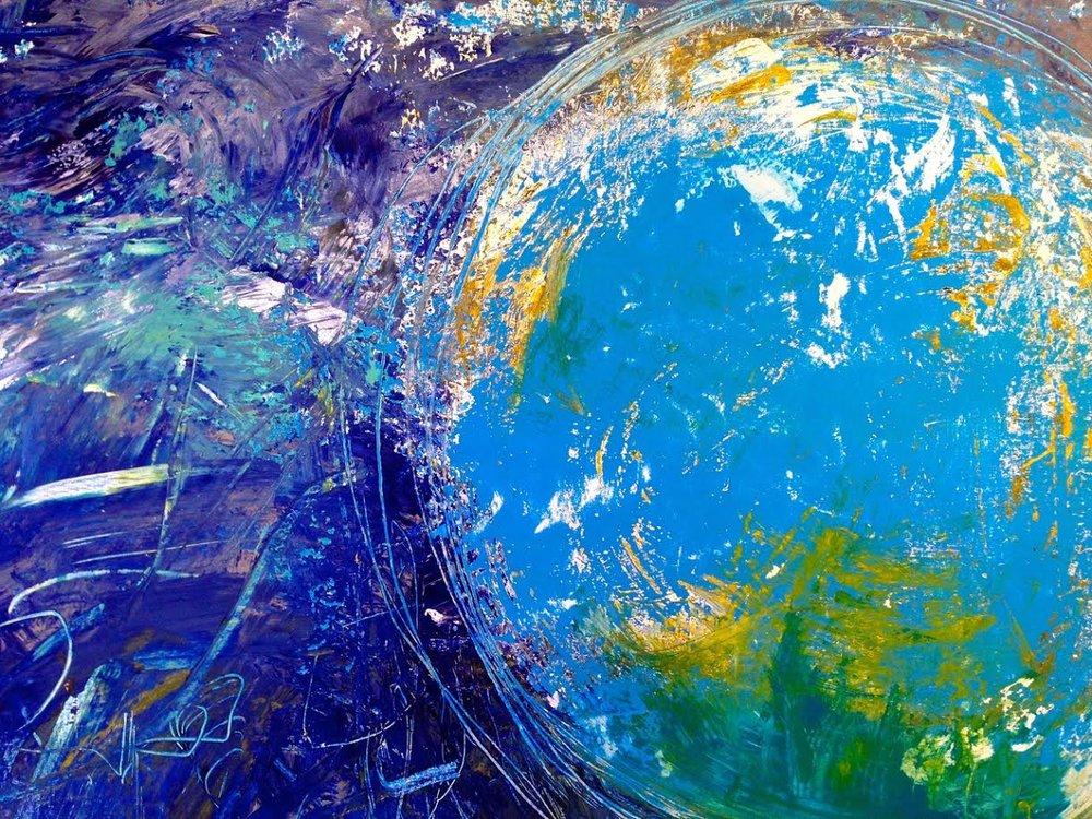 """World: 48""""x30"""", Acrylic on canvas"""